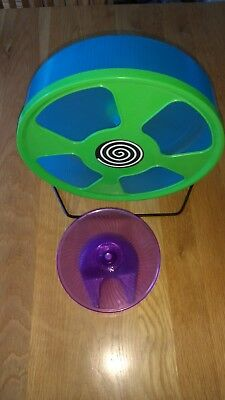 "Plastic HAMSTER  wheel. ideal size .silent  for large cage 11"" dia free item vgc"