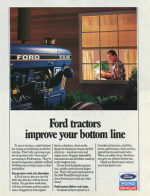 1989 Ford New Holland 5610 Farm Tractor Print Ad
