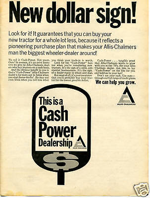 1970 Print Ad of Allis Chalmers Tractor AC Cash Power Dealership Sign