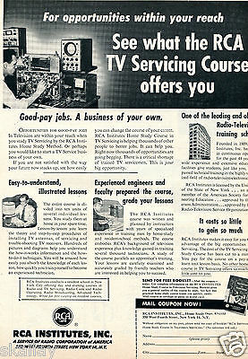 1953 Print Ad of RCA Institutes TV Servicing Course