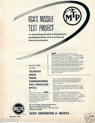 1956 Print Ad of RCA Air Force Missle Test Project MTP Long Range Test Center