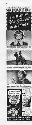 1937 Quaker Puffed Wheat Beverly Roberts Print Ad God's Country and the Woman