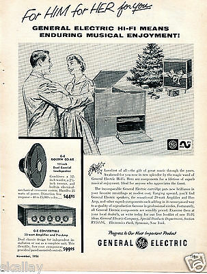 1956 Print Ad of GE General Electric Loudspeaker & Convertible Amp Christmas