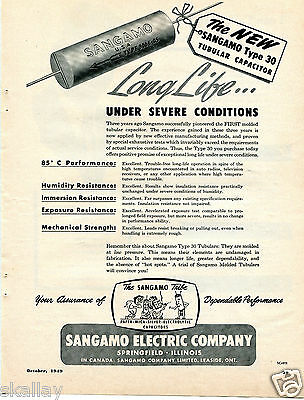 1949 Print Ad of The Sangamo Tribe Electric Co Type 30 Tubular Capacitors