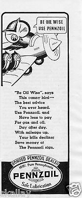 1937 small Print Ad of Pennzoil Owl On Airplane be oil wise