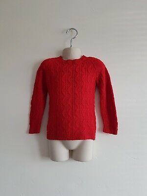 Vintage Child's Red Woolen Hand Knitted Jumper Age 2-3