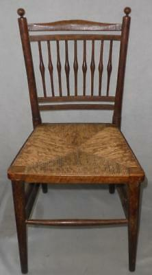 "Antique Small Wooden Weaved Straw Children's Chair (26"" Tall)"