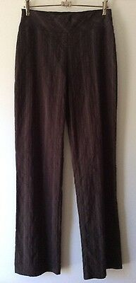 VINTAGE 1990's Geoff Bade Brown Brocade Pin Stripe Stretch Pants Size S 8-10