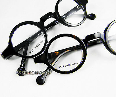 Men women Eyeglass frame 37mm small round retro optical acetate black/tortoise
