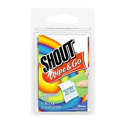 Shout Wipe & Go Wipes 4-Count (Lot of 6)(24 total individual Wipes)