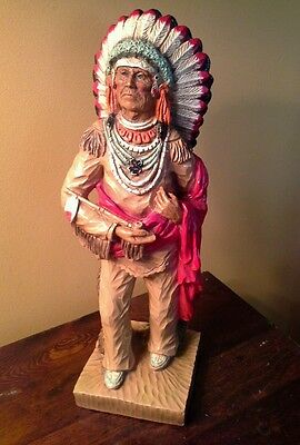 """Vintage 1976 Universal Statuary Corp SIGNED KENDRICK INDIAN CHIEF, 15 1/2"""" Resin"""