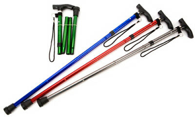 Adjustable Folding Walking Stick with Carry Strap (Choose Your Colour)