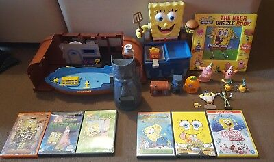 Spongebob Squarepants Bundle Toys Figures Dvds Puzzle Book Krusty Krab Cooker