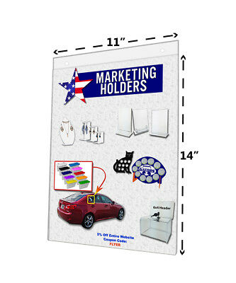 """Acrylic Wall Mount Sign Holder with Mounting Holes 11""""W x 14""""H (Lot of 6)"""