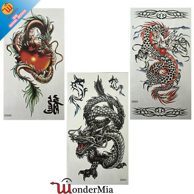 Large Temporary Waterproof Fake Body Art Tattoo Sticker (3-Design Dragon) CA