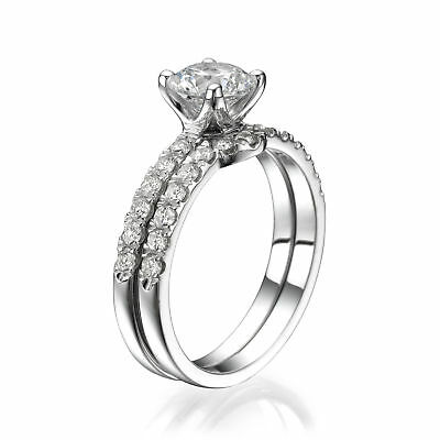 3 CT Enhanced Diamond Engagement Ring Set Round D/SI1-SI2 18K White Gold