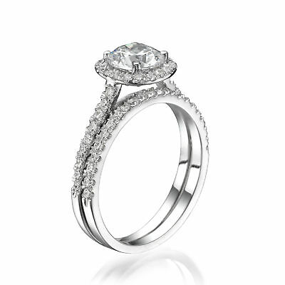 3.10 CT Jewellery Round Enhanced Diamond Engagement Ring Set 18K White Gold D/SI