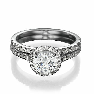 3 CT Enhanced Diamond Engagement Ring Set Round D/SI1-SI2 950 Platinum Size 4-9