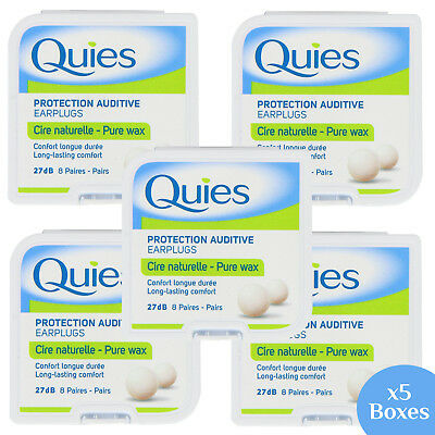 Quies Pure Natural Wax Ear Protection Plugs (8 Pairs) (x5 Boxes)(total 40 Pairs)