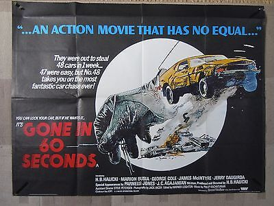 Gone In 60 Seconds - Rare Original 70's Poster for Cult Car Chase Movie