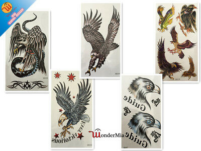 Large Temporary Waterproof Fake Body Art Tattoo Sticker (5-Design Eagle) CA