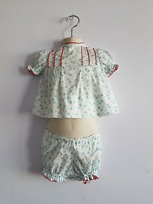 Vintage Baby Girl's Green & Red Floral Dress and Shorts Set