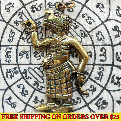 Brass Thai Amulet Pendant Theng Kwak Maha Lap Shadow Play Hunting Money Wealth
