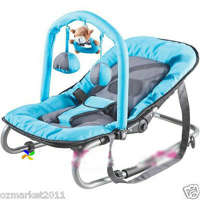 Security Sky Blue Baby Swing Chair/Portable Baby Rocking Chair/Deck Chair JY