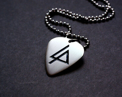 Handmade Etched Nickel Silver Linkin Park Guitar Pick Necklace - Donation Sale
