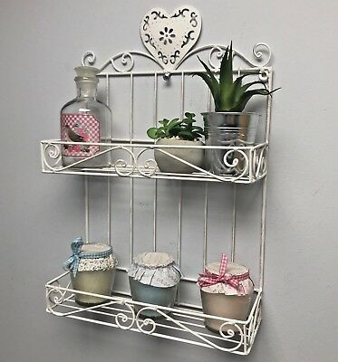 Off White Wall Shelf Display Storage Rack Shabby Chic Style Bathroom Kitchen