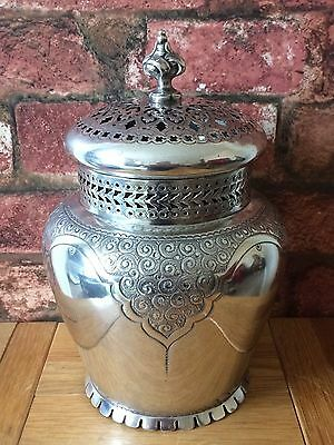 Antique 1854 Silver-Plated Chased & Pierced Pot Pourri Urn Vase Martin Hall & Co