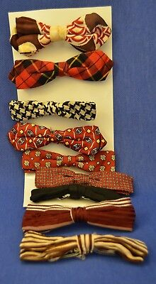 Lot Of 9 Vintage, Clip-On Bow Ties—Nice Variety