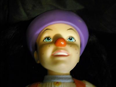 """Vintage Big Comfy Couch Loonette Doll 1997 Talks Clown 20""""  Red Nose Purple Hat"""