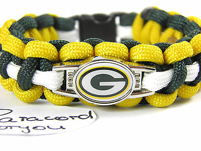 Green Bay Packers Paracord Bracelet with NFL Charm Women, Children's + Men