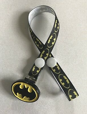 BATMAN  Dummy / Soother / Teether Pacifier Clip ~ Super Hero ~ NEW ~ No Beads ~