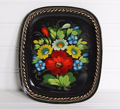 "Vintage Russia Handpainted Toleware Zhostovo 8"" Rectangle Tin Plate Tray Signed"