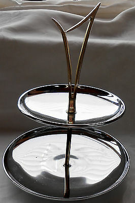 """Vintage Chrome Two Tier Pastry Server With Goldtone Handle 11"""""""