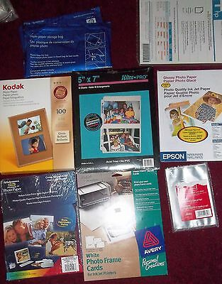 Large Lot of Photo Paper, Post Cards, Photo Paper Storage Bag, Plastic Pouches