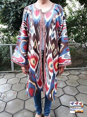 Women's light jacket kaftan vintage uzbek handmade from 100% cotton ikat fabric