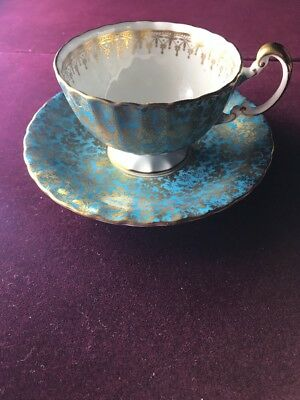 Aysley Tea Cup, Teal And Gold, Bone China, England