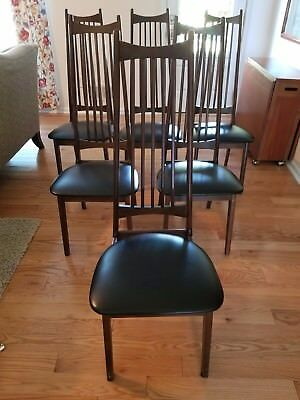 6 walnut finished koefeds style mid century modern dining chairs