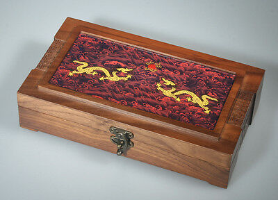 """10"""" Wooden Organizer Box/Jewelry Box w/Ceramic Tile Cover Relief Golden Dragons"""