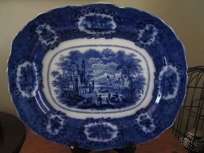"""Antique Early 1800's Ridgway """"Oriental"""" Flow Blue Large Serving Platter Signed"""