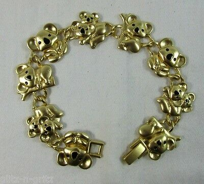 Gold and Enamel KOALA BEAR and Baby Link Charm Bracelet Aussie