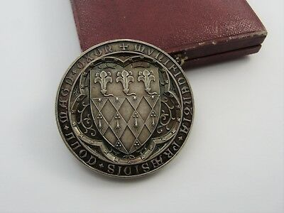 ANTIQUE VICTORIAN c1876 LATIN SILVER MEDALLION COIN IN BOX VGC