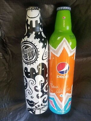 Green Label Art Mountain Dew NYC & #13 Ballack aluminum Pepsi UNOPENED Bottles
