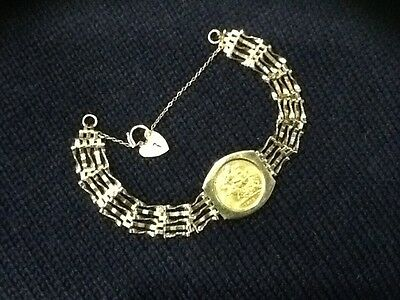 9Ct Gate Bracelet With 1912 22Ct Half Sovereign Safety Chain Padlock