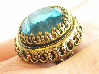 VINTAGE BRASS GLOVE OPERA RING w/ BLUE VAUXHALL GLASS JEWEL FANCY CROWN PRONGS