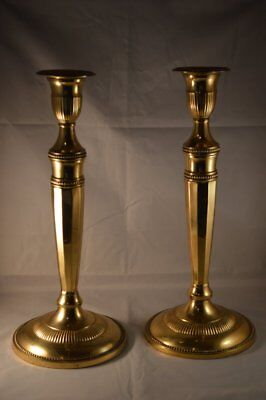 "Vintage Pair Handmade  Solid Brass Candlesticks Candle Holders 12.5 "" EX Cond"