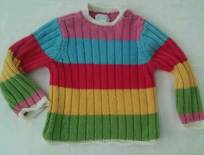 Girls Childrens Place Long Sleeve Thick Comfy Multi Color Sweater Size 18 M